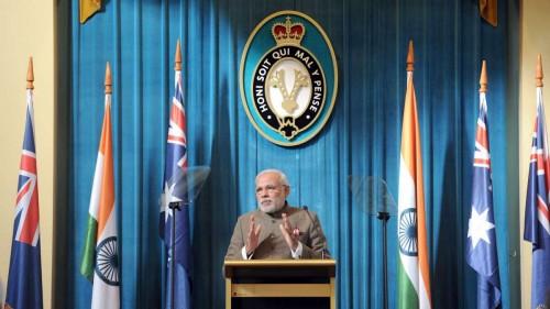 The Prime Minister, Shri Narendra Modi delivers his address to Business Leaders, in Melbourne, Australia on November 18, 2014.