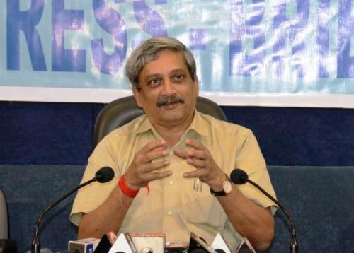 Goa chief minister Manohar Parrikar addressing the media