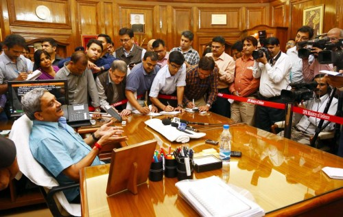 Shri Manohar Parrikar interacting with the media after taking charge as new Defence Minister, in New Delhi on November 10, 2014.