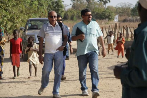 Ram Mohan (R) in a village in Gambia