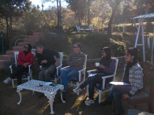 Authors at a panel discussion at the Writers Retreat