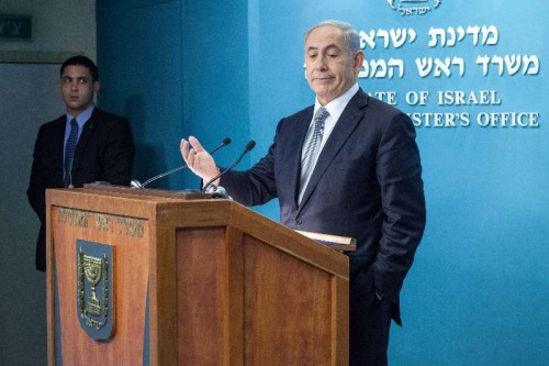 Israeli Prime Minister Benjamin Netanyahu addresses a press conference at the Prime Minister's office in Jerusalem.