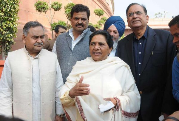 BSP chief Mayawati at the Parliament premises in New Delhi. FILE PHOTO