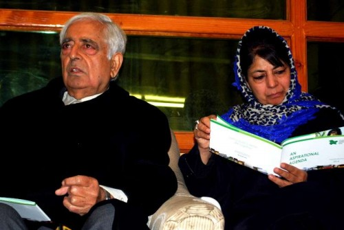 Peoples Democratic Party (PDP) patron Mufti Mohammad Sayeed with party president Mehbooba Mufti.