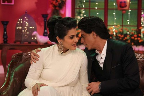 The evergreen couple Kajol and Shahrukh Khan on the sets of Comedy Nights With Kapil reliving the good old days at Dilwale Dulhania Le Jayenge 1000 weeks completion special episode shoot on Comedy Nights With Kapil in Mumbai on Monday, Dec 1, 2014