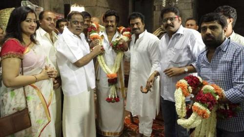 Actors Rajnikanth, Ambareesh and others during the muhurat shot of film 'Lingaa' at Chamundi Hill in Mysore on May 2, 2014. (Photo: IANS)