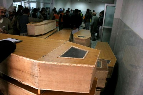 Coffins are seen at a hospital in northwest Pakistan's Peshawar on Dec. 16, 2014. The death toll of a terror attack on a school in Peshawar of Pakistan's northwest Khyber Pakhtunkhwa province.