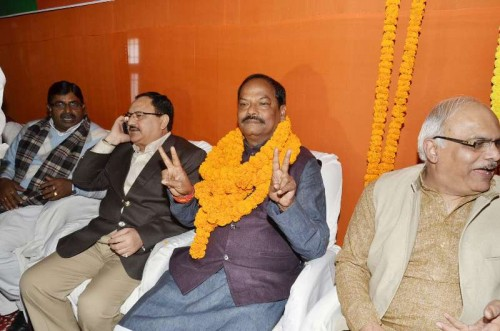 BJP leader Raghubar Das, who was elected as BJP state legislature party leader and is set to be the first non-tribal chief minister of Jharkhand in Ranchi, on Dec 26, 2014. Also seen BJP leaders J.P. Nadda and Vinay Sharsabuddhe.
