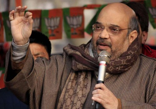 BJP chief Amit Shah addresses a rally