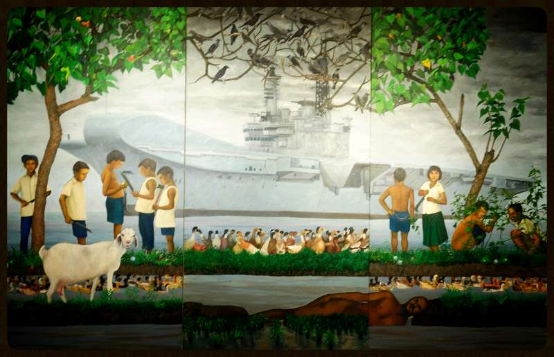 Painting of Folklore Legend 'Thumbingal Chathan' at Kochi -Biennale-2013
