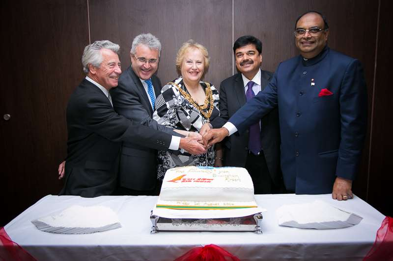 Mr Pankaj Srivastava, Commercial Director- Air India, with Birmingham Airport CEO Pual Kehoe, Lord Lieutenant Paul Sabapathy, Solihull Mayor Kate Wild during the first anniversary celebrations of services in Birmingham