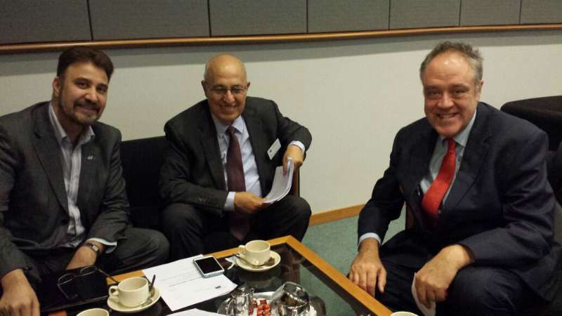 Afzal Khan MEP and Richard Howitt MEP with Palestinian senior Negotiator, Dr Nabeel Shaath