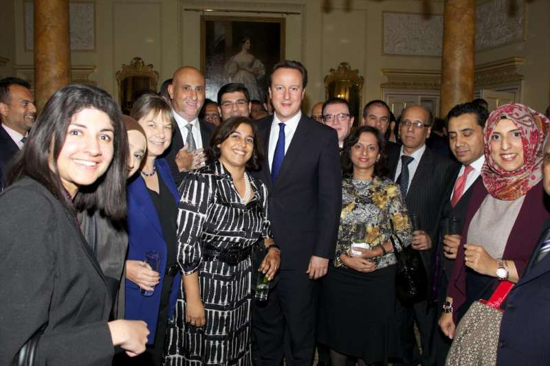 Prime Minister David  Cameron interacting with the Muslim community during the Eid celebrations at No 10