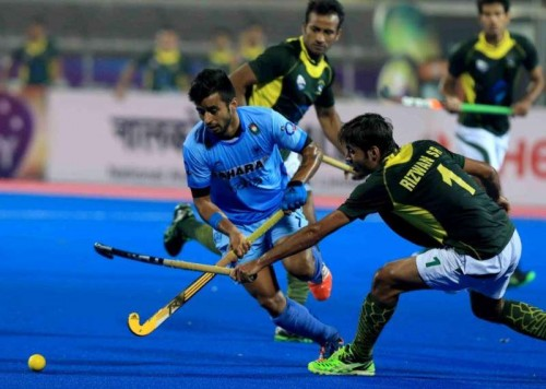 Players in action during a HHCT - 2014 (Hero Hockey Men`s Champions Trophy 2014) match between India and Pakistan at Kalinga Stadium in Bhubaneswar on Dec 13, 2014. Pakistan won. Score: 4-3.
