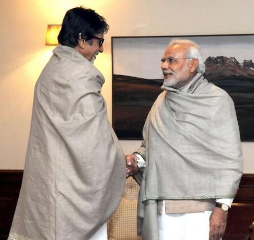 Actor Amitabh Bachchan calls on Prime Minister Narendra Modi, in New Delhi