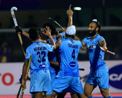Indian players celebrate after winning a Hero Men`s Champions Trophy .