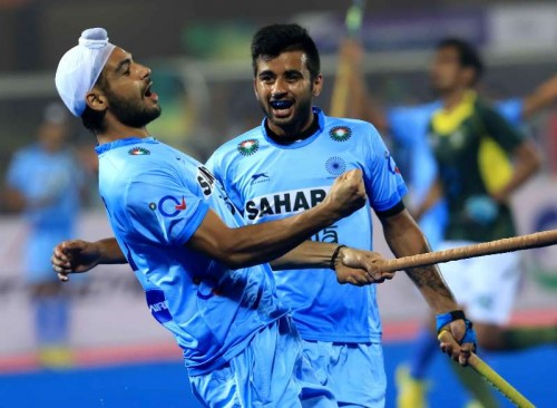 Indian players celebrate during a HHCT - 2014 (Hero Hockey Men`s Champions Trophy 2014) match between India and Pakistan at Kalinga Stadium in Bhubaneswar on Dec 13, 2014. Pakistan won. Score: 4-3.