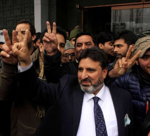 Peoples Democratic Party (PDP) leader Altaf Bukhari during a rally organised after he was declared victorious from Amira Kadal constituency in the recently held Jammu and Kashmir assembly polls, in Srinagar on Dec 23, 2014.