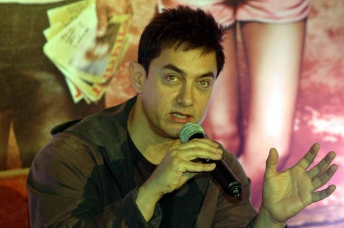 Patna: Actor Aamir Khan during a press conference for the promotion of his upcoming film `PK` in Patna on Dec. 6, 2014.