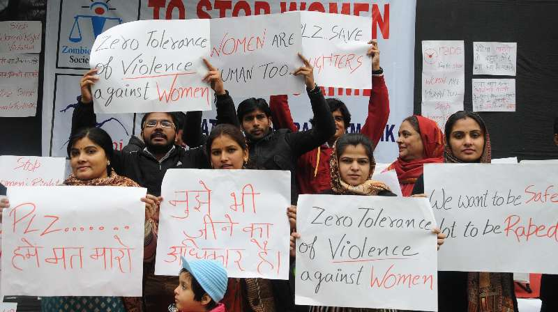 A file photo of women protesting against  violence in New Delhi