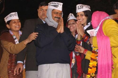 Aam Aadmi Party (AAP) Arvind Kejriwal during a public meeting at Nanakpura in New Delhi, on Jan 21, 2015