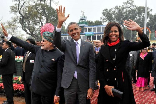 Prime Minister Narendra Modi with US President Barack Obama and the First Lady Michelle Obama at the venue of Republic Day celebrations at Rajpath in New Delhi, on Jan 26, 2015.
