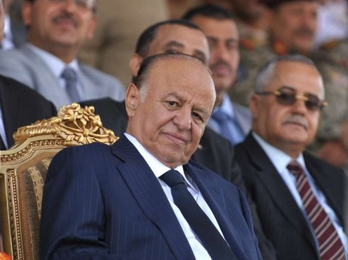 The file photo taken on May 22, 2012 shows Yemeni President Abd-Rabbu Mansour Hadi attending the military parade for the 22nd anniversary of the national day of unification in Sanaa, Yemen. Yemeni President Abd-Rabbu Mansour Hadi on Thursday night submitted his resignation to the parliament amid standoff with the Shiite Houthi group who control the capital. The Yemeni parliament on Thursday night rejected Hadi's resignation and called for holding an emergency session on Friday to resolve the crisis, the parliament said in a statement obtained by Xinhua. (Xinhua/Mohammed Mohammed)