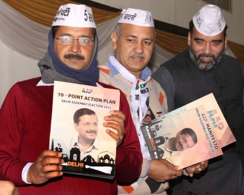 Aam Aadmi Party chief Arvind Kejriwal and other AAP leaders release Aam Aadmi party manifesto for upcoming Delhi assembly elections, in New Delhi on Jan 31, 2015