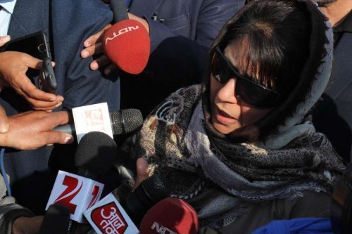 PDP leader Mehbooba Mufti addresses press after meeting Jammu and Kashmir Governor NN Vohra in Jammu, on Dec 31, 2014.