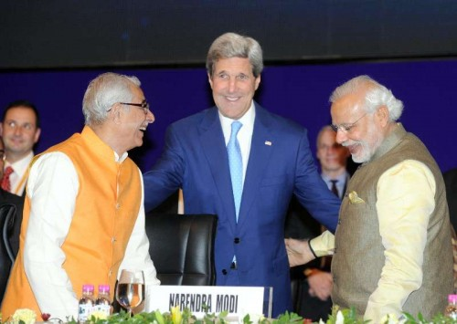 Prime Minister Narendra Modi with the US Secretary of State John Kerry, at the 7th Vibrant Gujarat Global Summit 2015, in Gandhinagar, Gujarat on Jan 11, 2015. Also seen Gujarat Governor of O.P. Kohli.