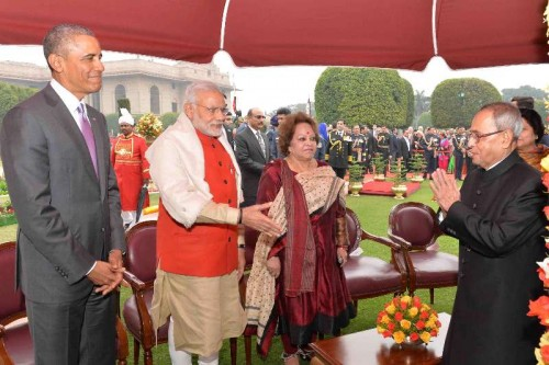 President Pranab Mukherjee and Prime Minister Narendra Modi with US President Barack Obama during the `At Home` function organised on Republic Day at Rashtrapati Bhawan in New Delhi, on Jan 26, 2015.