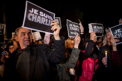 "People take part in a protest against the attack on French satirical weekly ""Charlie Hebdo"" in Paris, in front of the French Ambassy in Mexico City, capital of Mexico, on Jan. 8, 2015."