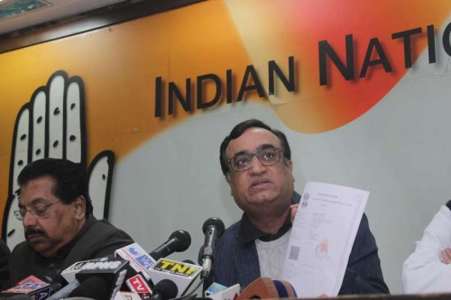 Congress leader Ajay Maken during a press conference at Congress party office in New Delhi on Jan. 17, 2014.