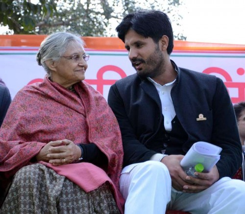 The newly elected president of Indian Youth Congress Amrinder Singh Raja Brar with former Delhi chief minister and Kerala Governor Sheila Dikshit after his appointment in New Delhi, on Jan 5, 2015.