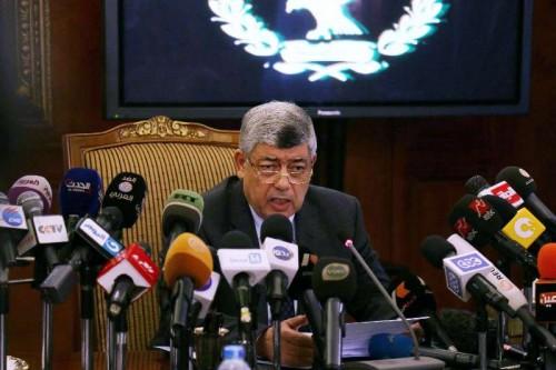 Egypt's Interior Minister Mohamed Ibrahim speaks at a press conference.