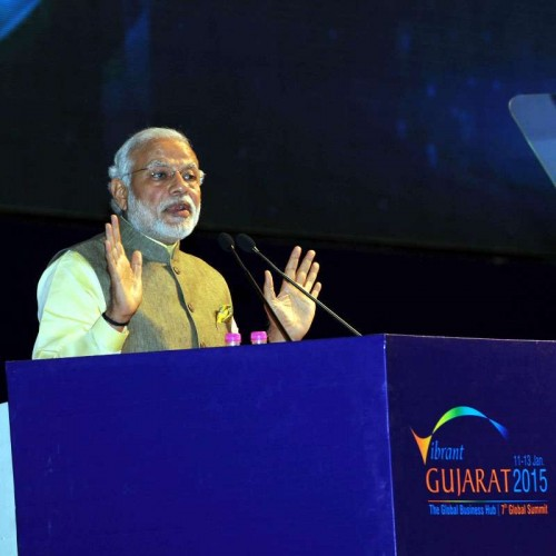 Prime Minister Narendra Modi addresses at the inauguration ceremony of the 7th Vibrant Gujarat Global Summit 2015, in Gandhinagar, Gujarat on Jan 11, 2015.