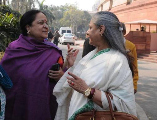 Parliamentarians Jayanthi Natarajan and Jaya Bachchan at the Parliament in New Delhi on Feb.12, 2014.