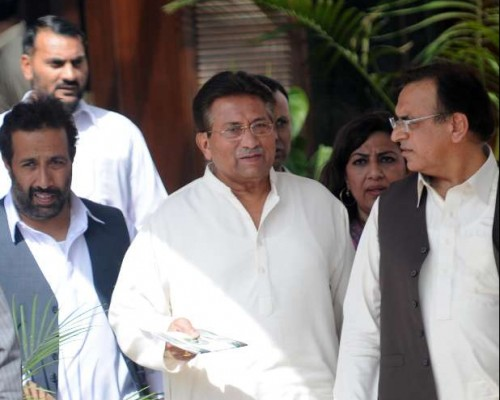 File photo taken on April 15, 2013 shows Pakistan's former President Pervez Musharraf arrives for a press conference in Islamabad, capital of Pakistan. A Pakistani special tribunal, which indicted former military ruler Pervez Musharraf for high treason over 2007 imposition of emergency rule, on Monday rejected his request to allow him to go abroad for treatment. The government has barred Musharraf from going abroad by putting his name on the Exit Control List (ECL).
