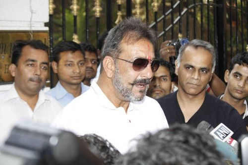 Actor Sanjay Dutt, who was granted furlough for 14 days, at his residence Imperial Heights, Pali Hill Bandra in Mumbai on Dec 24, 2014. The actor is currently serving the remaining of his three-and-a-half-year sentence in a 1993 Bombay blasts case in Pune's Yerwada jail.