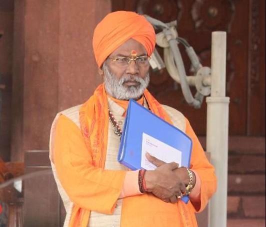 BJP MP from Unnao Sakshi Maharaj at the Parliament premises in New Delhi, on Dec 16, 2014.