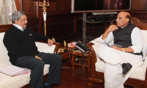 Union Minister for Defence Manohar Parrikar calls on Union Home Minister Rajnath Singh, in New Delhi on Ja n 15, 2015.