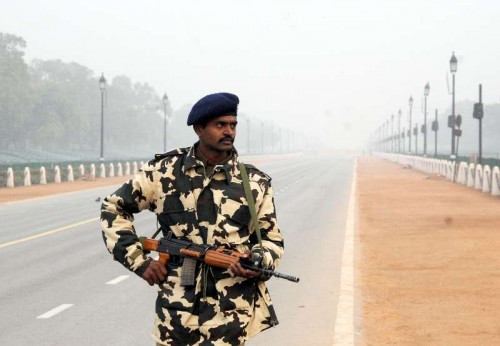 A soldier stands guard on Rajpath as security has been beefed-up in the area ahead of Republic Day in New Delhi.