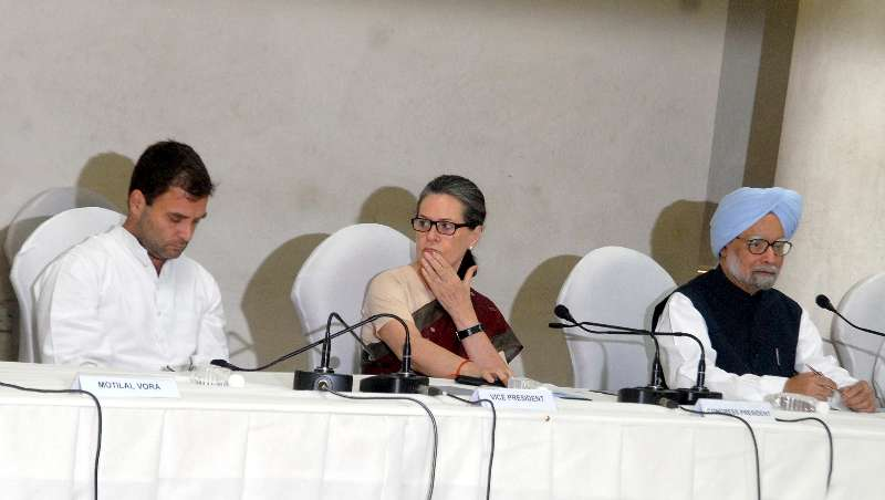 Congress chief Sonia Gandhi, party vice-president Rahul Gandhi and former Prime Minister Manmohan Singh during Congress Working Committee (CWC) meeting at Congress headquarter in New Delhi
