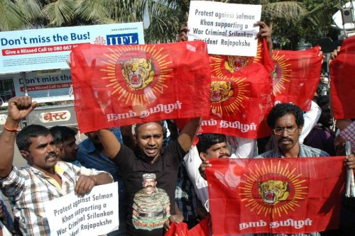 Tamil activists stage protest against Salman Khan in front of his residence for supporting Sri Lankan president Mahinda Rajapaksa in Mumbai, on Jan 4, 2015