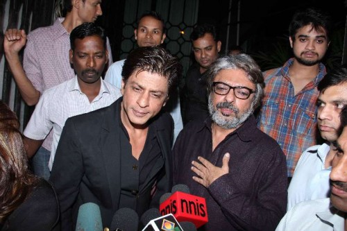Actor Shahrukh Khan during the party hosted by filmmaker Sanjay Leela Bhansali in Mumbai. Bhansali organised a party to celebrate his Padma Shri honour