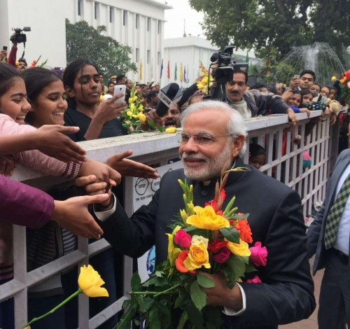 New Delhi: Prime Minister Narendra Modi interacts with people on New Year's Day, in New Delhi on Jan 1, 2015. (Photo: IANS/PIB)