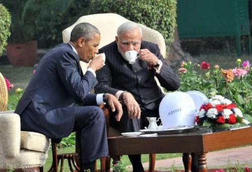 President Obama and Prime Minister Modi having tea in the gardens of the Hyderabad house in New Delhi.
