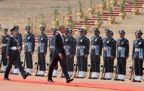 The US President, Mr. Barack Obama inspecting the Guard of Honour, at the ceremonial reception, at Rashtrapati Bhavan, in New Delhi on January 25, 2015.