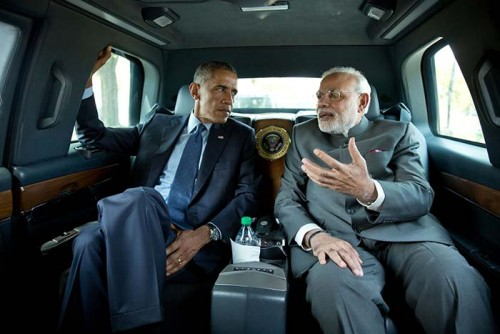 Modi inside The Beast with Obama on his visit to Washington.