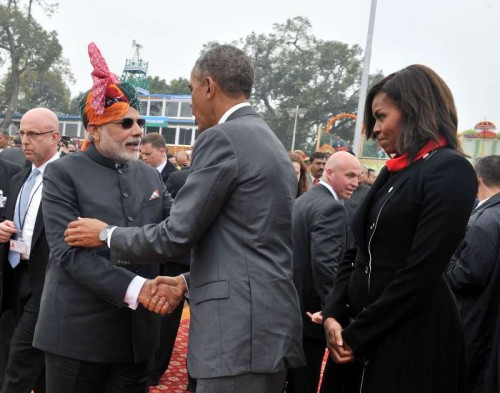 The Prime Minister, Shri Narendra Modi with the US President, Mr. Barack Obama and the First Lady Michelle Obama on the Raj Path, at the 66th Republic Day Parade 2015, in New Delhi on January 26, 2015.